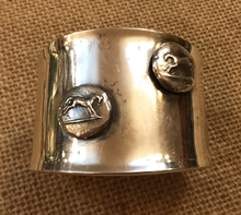 Load image into Gallery viewer, Bracelet, AH Designed, Sterling Wide Cuff w Wedgwood Horse Medallions