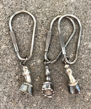 Load image into Gallery viewer, Key Chain or Key Fob, AH Designed, Sterling Silver, Horse Leg-Hoof-Horse Shoe