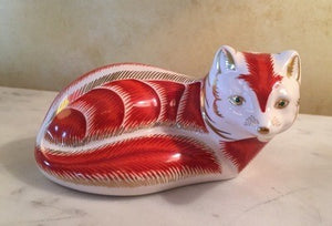 Desk Paper Weight, Royal Crown Derby Fine China Imari Red Fox w gold accents