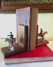 Load image into Gallery viewer, Bookends w detailed, hand painted, vintage Fox Hunt figures on wooden books