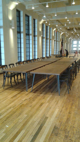 rent wooden tables for nyc client lunch