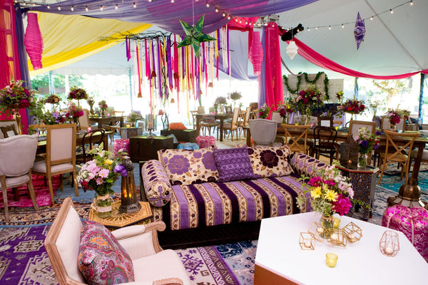 Colorful furniture rented for Upstate New York event