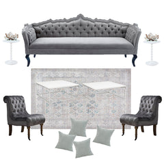 Grey tufted sofa seating arrangement
