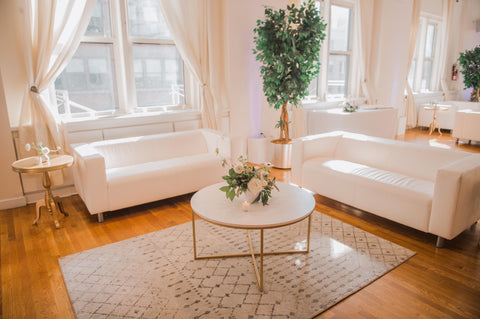white sofa rentals for NYC events and weddings