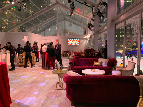 burgundy sofa rentals for a winter holiday party in NYC