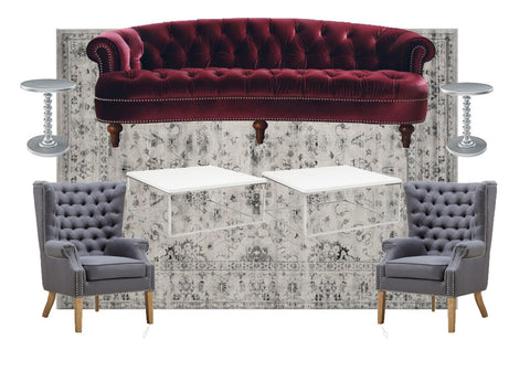 Rent burgundy sofa for NYC events