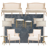 Classic beige furniture rentals for weddings and trade shows
