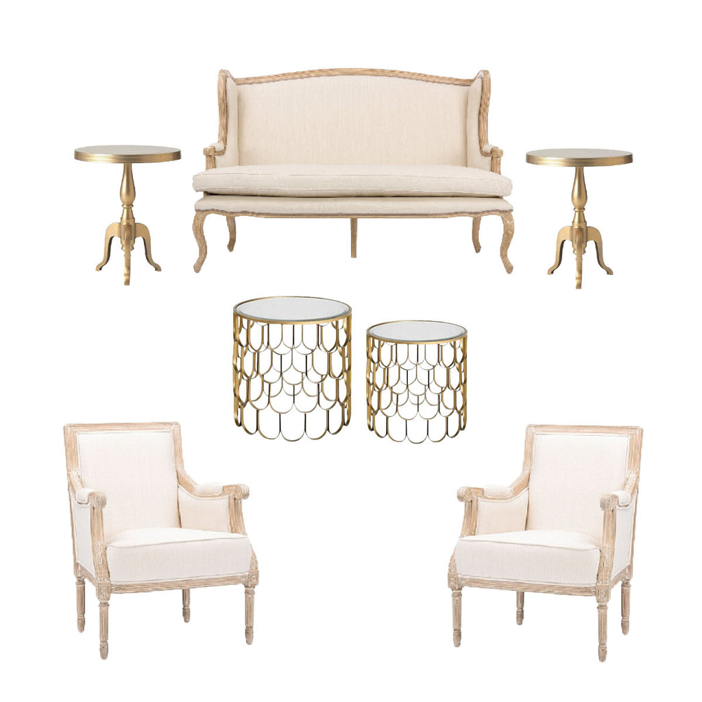 french beige furniture rentals for events
