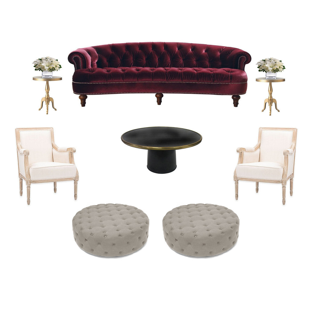 Burgundy sofa rental for New York events