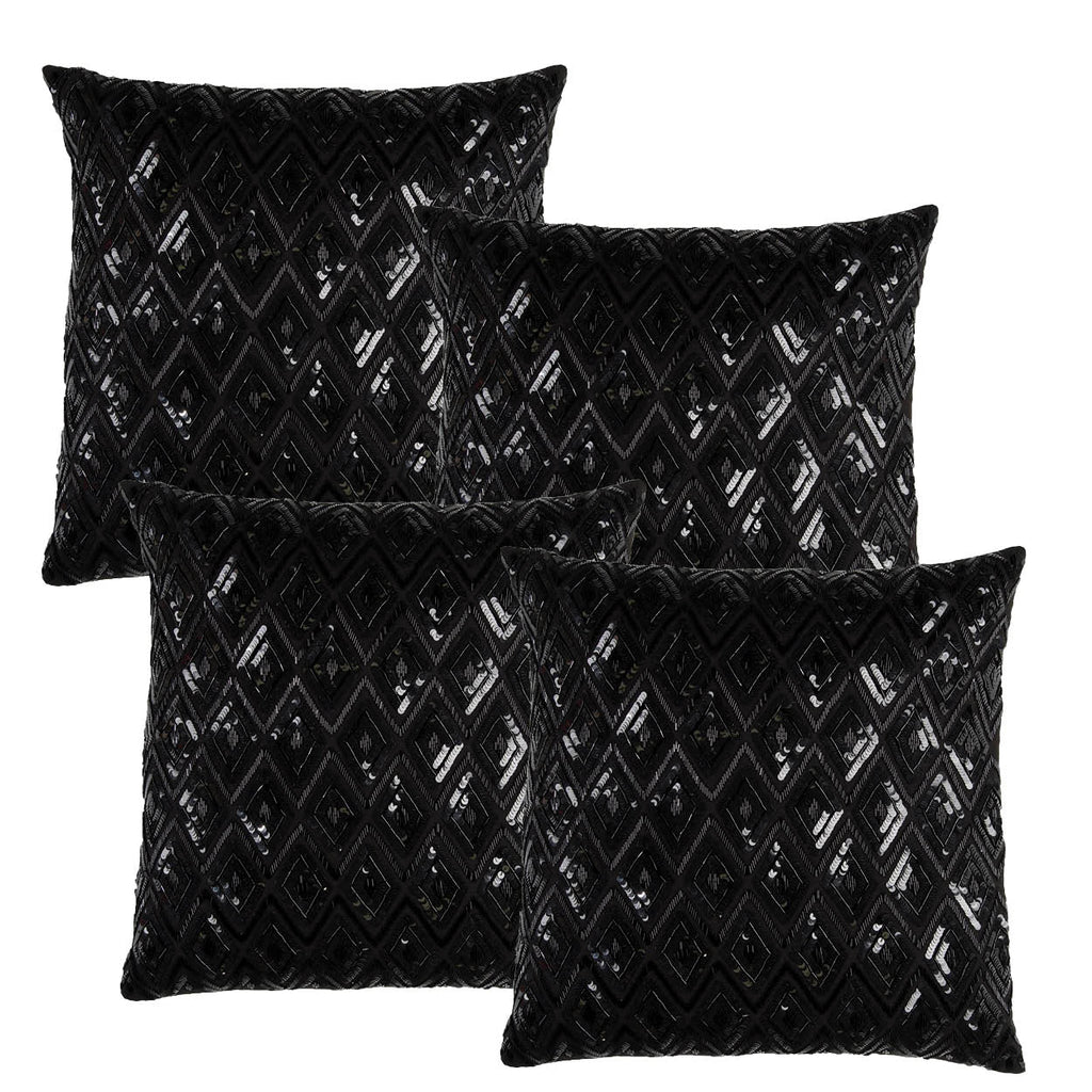 Black sequin pillows for weddings and events