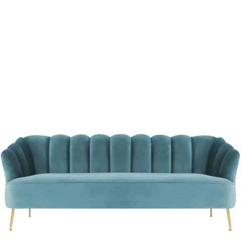 Velvet Teal Scalloped Sofa
