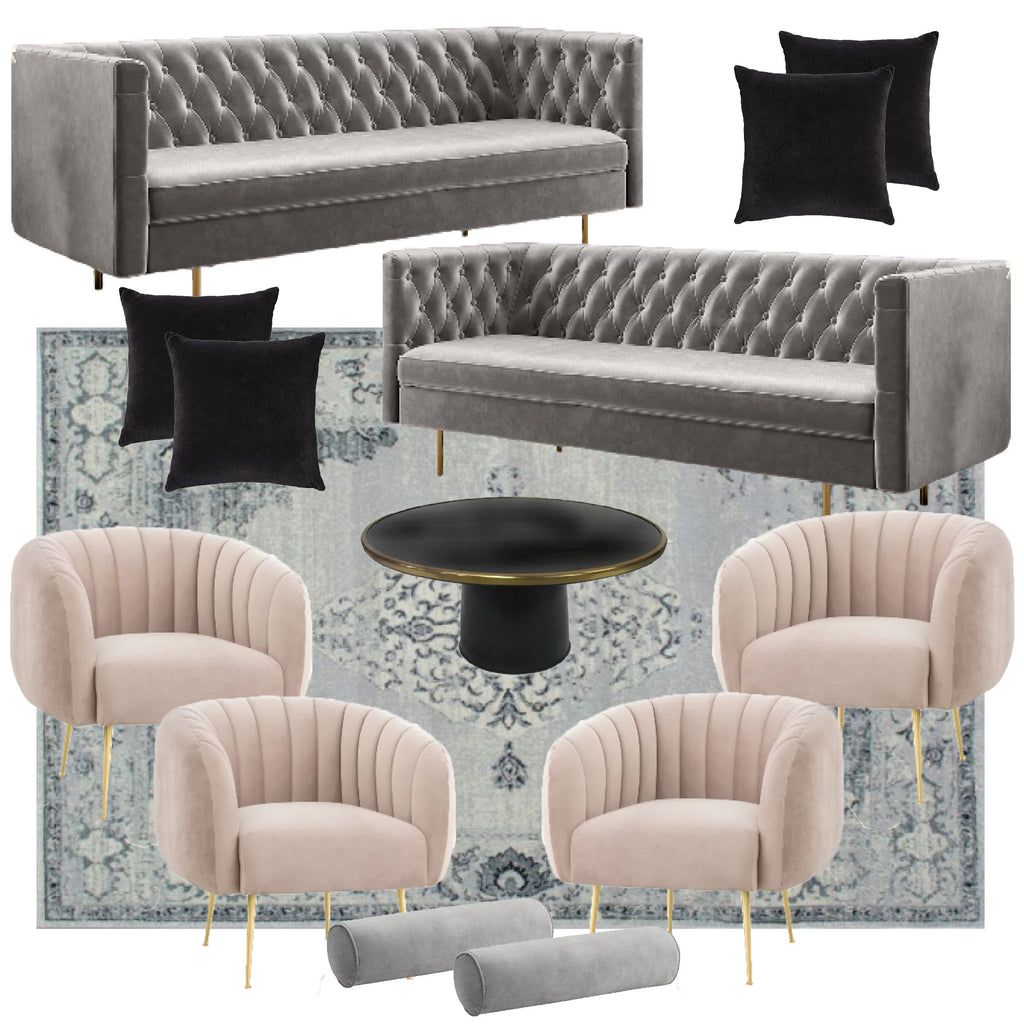 Grey and blush sofa and chair rentals for brooklyn weddings