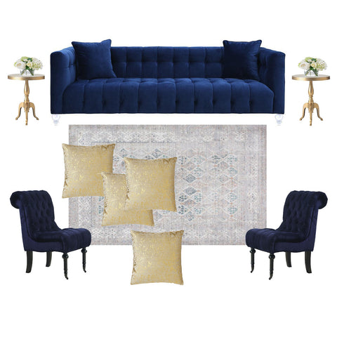 Rent this midnight blue seating arrangement