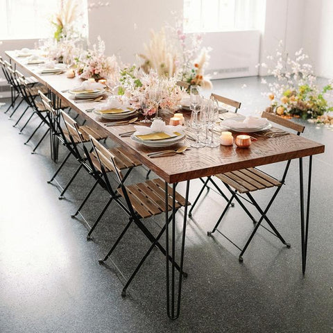 wood and metal folding chair rentals