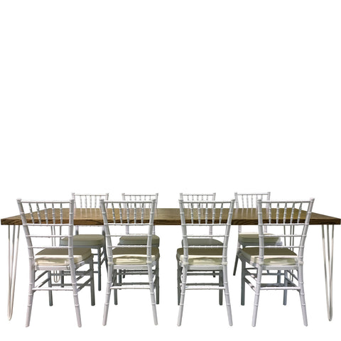 Contemporary hairpin table rentals