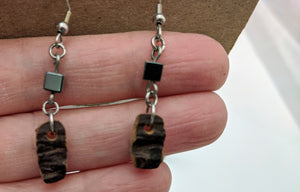 Earrings, Genuine Cacao Pod with Hematite