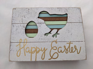 'Happy Easter' with Chick & Egg Sign