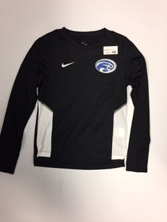 Adult Women's Miler Long Sleeve Black and White Nike Dry-Fit