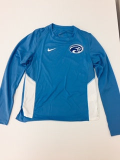 Adult Ladies Miler Long Sleeve light Blue and White Nike Dry-Fit