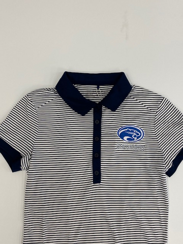 Adult Ladies Victory Mini Stripe Navy Polo