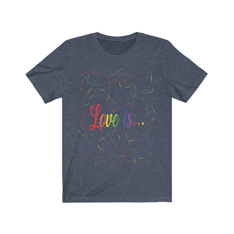 Heather Navy and Rainbow Love Is Pride T-Shirt