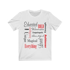 White Words of Affirmation Women's Short Sleeve Tee