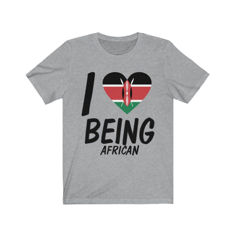 Gray I love being African, Kenya shirt