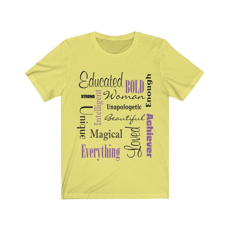 Yellow Words of Affirmation Women's Short Sleeve T-Shirt