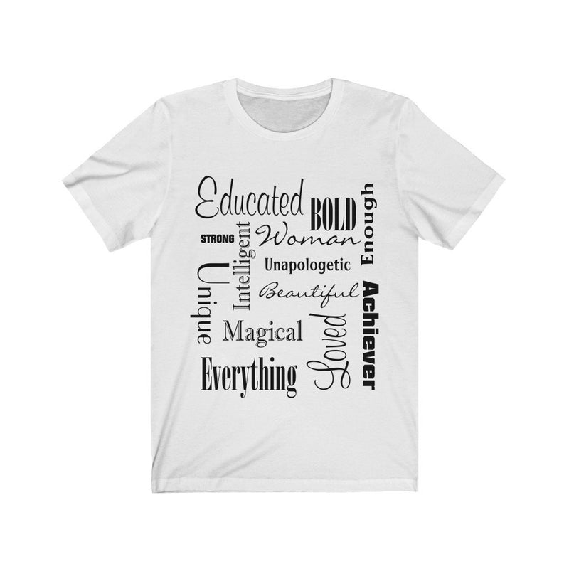 White and Black Words of Affirmation Women's Short Sleeve T-Shirt