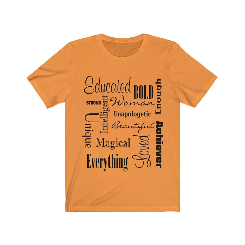 Orange and Black Words of Affirmation Women's Short Sleeve T-Shirt
