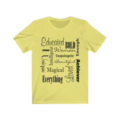 Yellow and Black Words of Affirmation Women's Short Sleeve T-Shirt
