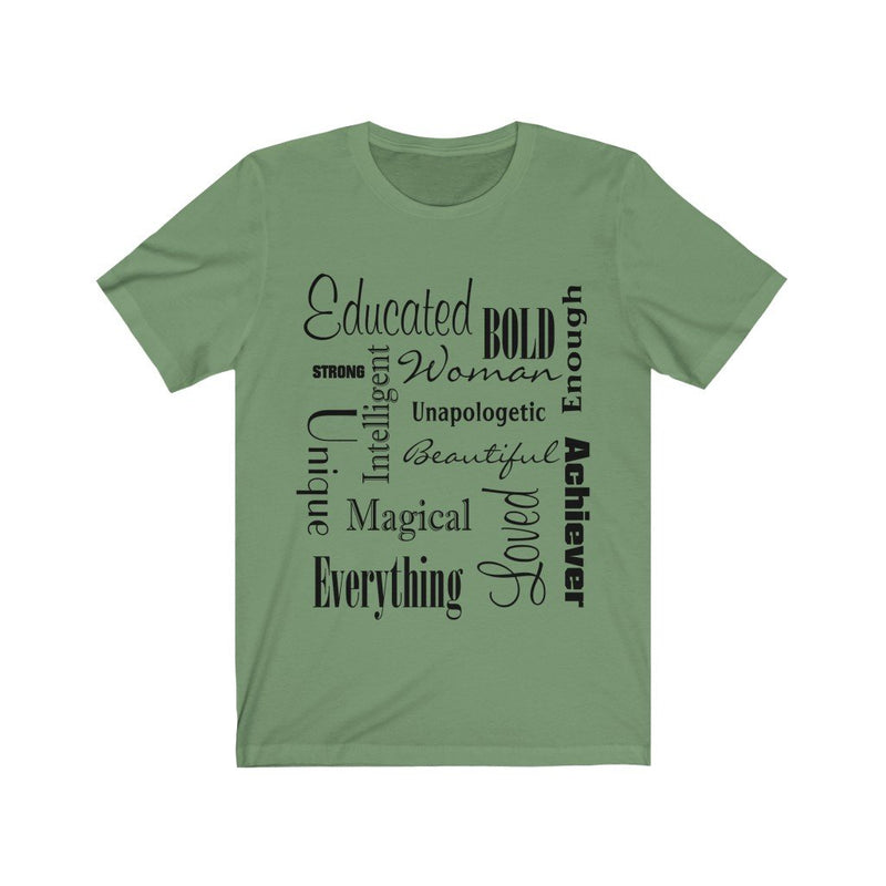 Green and Black Words of Affirmation Women's Short Sleeve T-Shirt