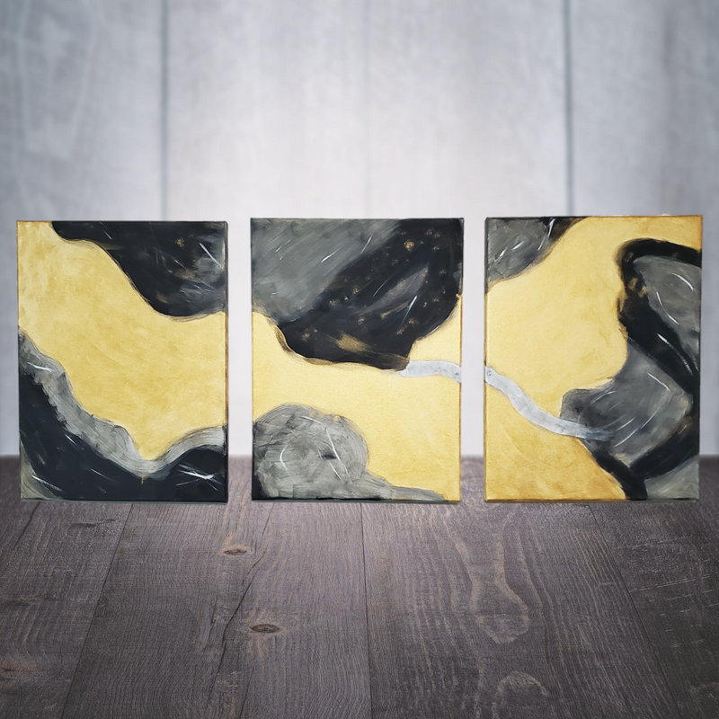 Hand Painted Black & Gold Abstract Canvas Wall Art
