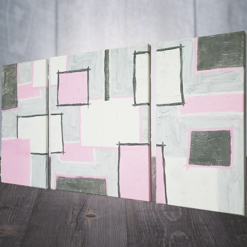 Pink and Gray Square Abstract Canvas Art