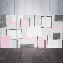 Hand Painted Pink & Gray Abstract Canvas Art