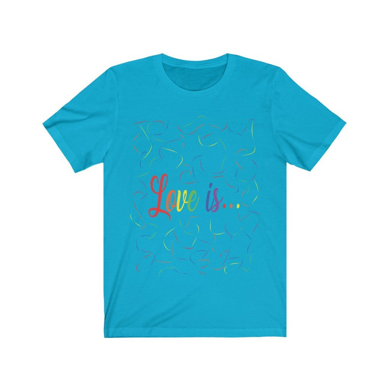 Turquoise and Rainbow Love Is Pride T-Shirt