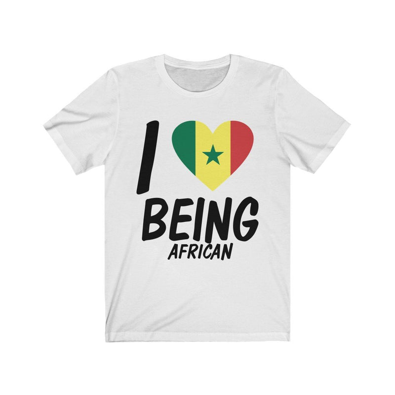 White I love being African, Senegal shirt