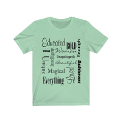 Mint and Black Words of Affirmation Women's Short Sleeve T-Shirt