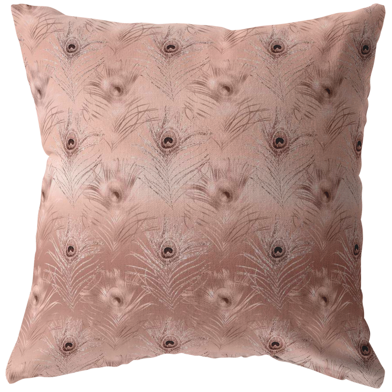 Rose Gold Peacock Feathers Throw Pillow