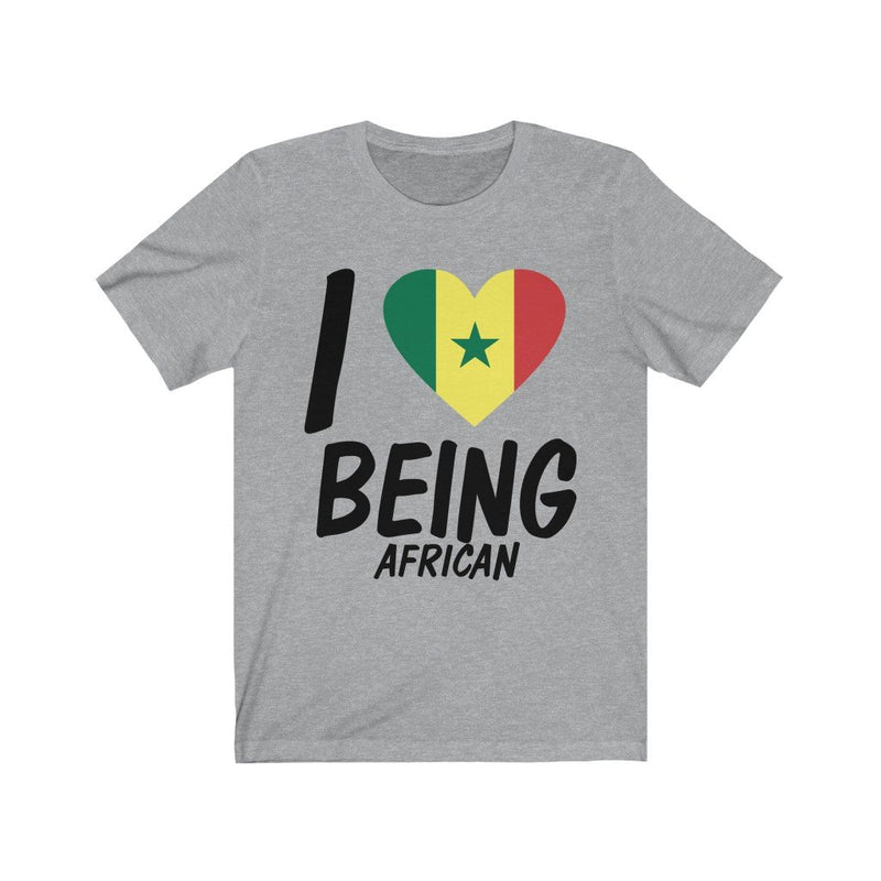 Gray I love being African, Senegal shirt