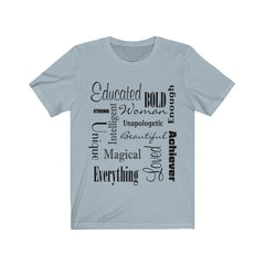 Light Blue and Black Words of Affirmation Women's Short Sleeve T-Shirt