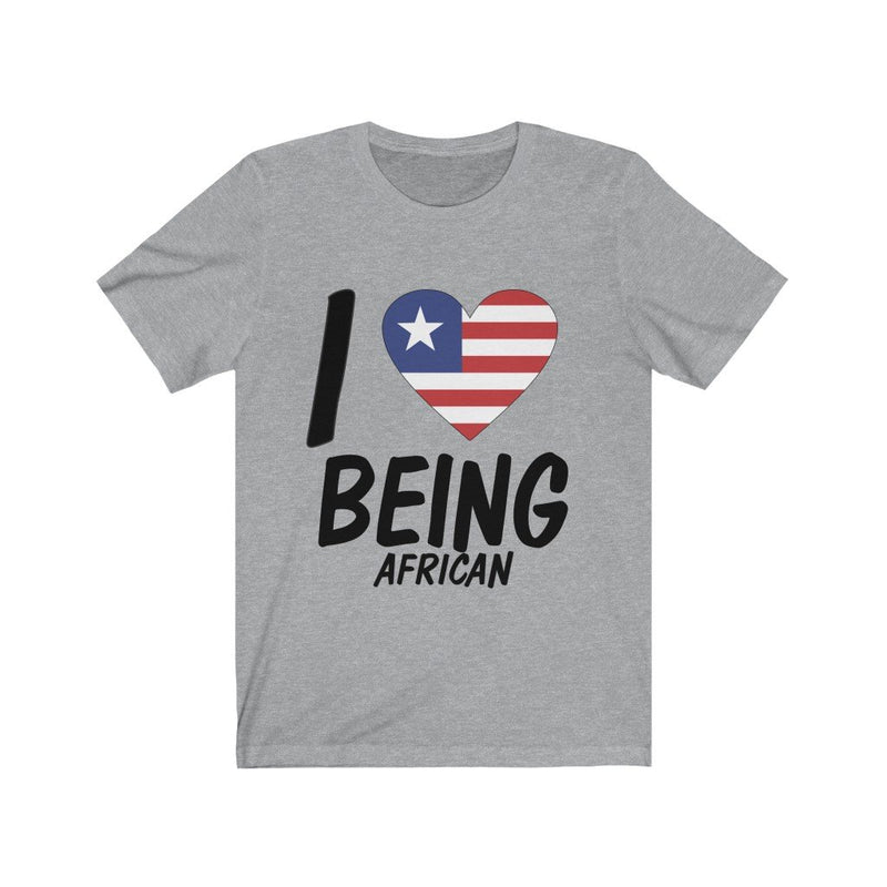 Gray I love being African, Liberia shirt