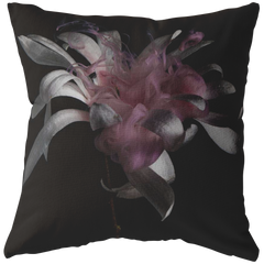 Pink & Gray Flower Throw Pillow
