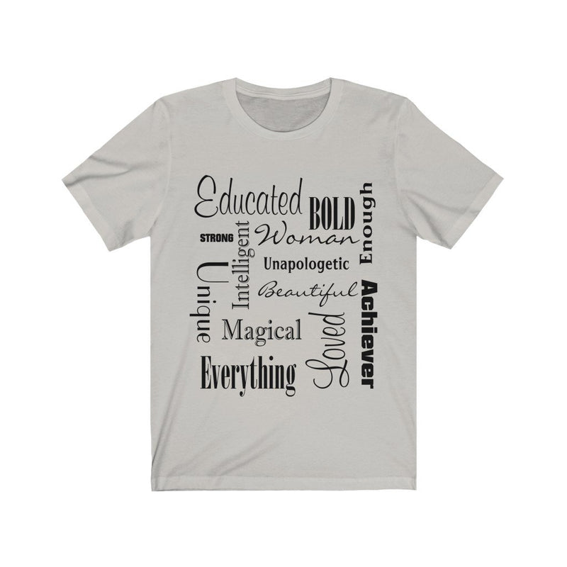Silver and Black Words of Affirmation Women's Short Sleeve T-Shirt