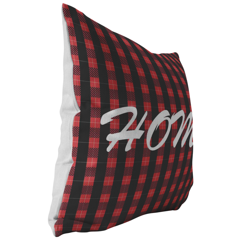 Red Plaid Home Throw Pillow