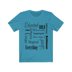 Blue and Black Words of Affirmation Women's Short Sleeve T-Shirt