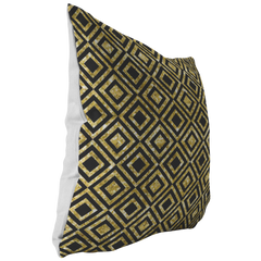 Black & Gold Diamond Squares Throw Pillow