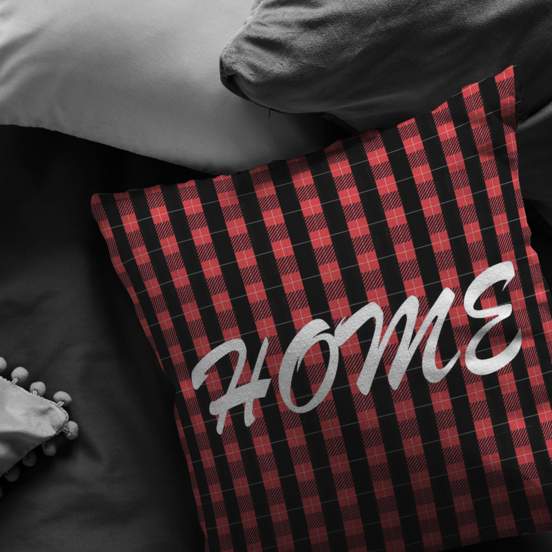 Red Plaid Home Pillow Case