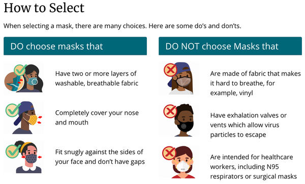 CDC Masks to Select 2 layers Breathable fabric covers nose mouth snugly