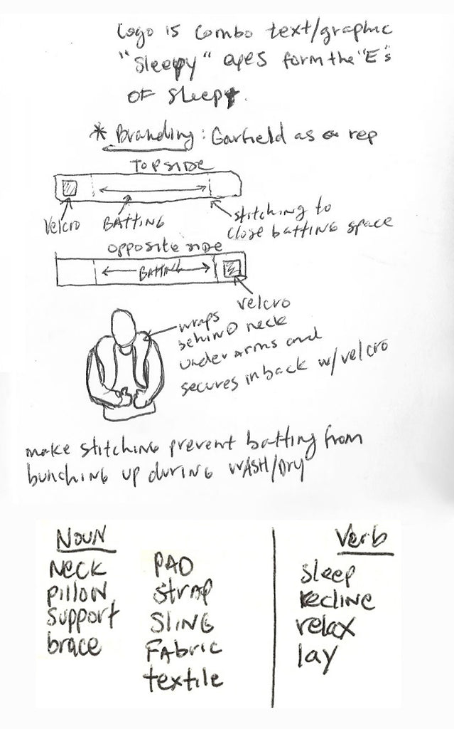 SleepHug Prototype and Logo Sketches